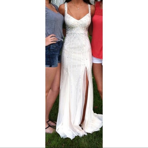 Open Back Beaded Prom Dress   Poshmark